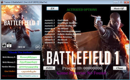 Battlefield 1 trainer pc