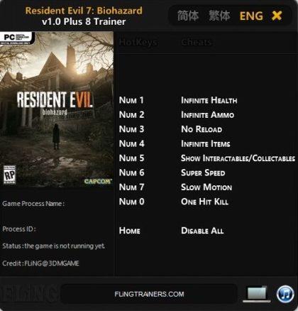 Resident Evil 7 Biohazard trainer