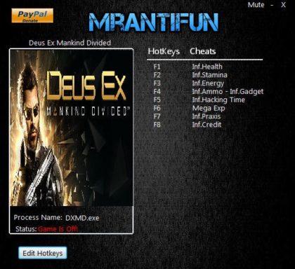 Deus Ex Mankind Divided cheats