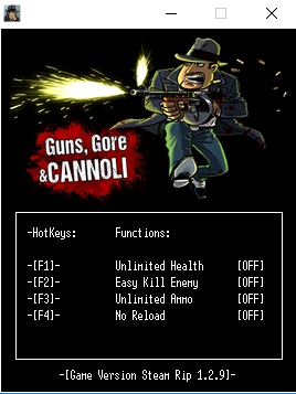 Guns, Gore & Cannoli trainer