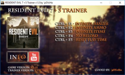 Resident Evil 7 1.01 trainer
