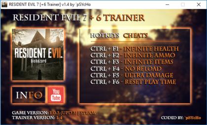 Resident Evil 7 v1 0 3 Trainer +6, Cheats & Codes - PC Games