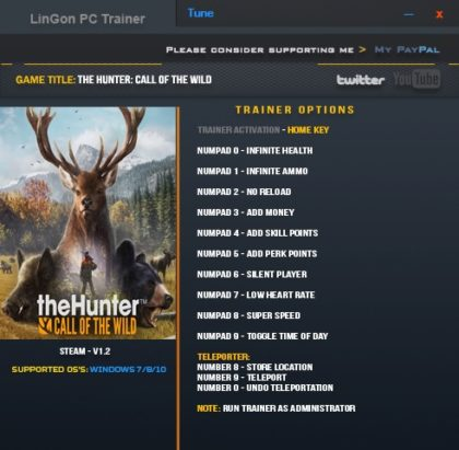 The Hunter Call of the Wild v1.21 Trainer