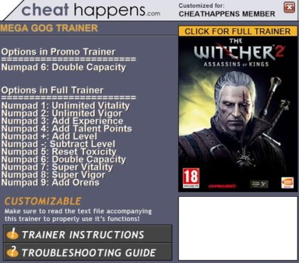 The Witcher 2 Assassins of Kings trainer