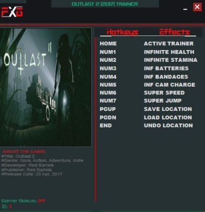 Outlast 2 Trainer +9 (v1 0) (FutureX), Cheats & Codes - PC Games